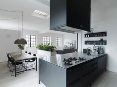 The loft of Morten Bo Jensen, chief designer of Vipp, a Danish company that produces kitchen and bat Scandinavian Design, Home, Home Kitchens, Kitchen Design, Black Kitchens, Kitchen Inspirations, Kitchen Dining Room, Kitchen Interior, Modern Loft