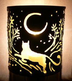 Cat  night light  Recycled tin can freehand by SantaFeMoonLights, $25.00