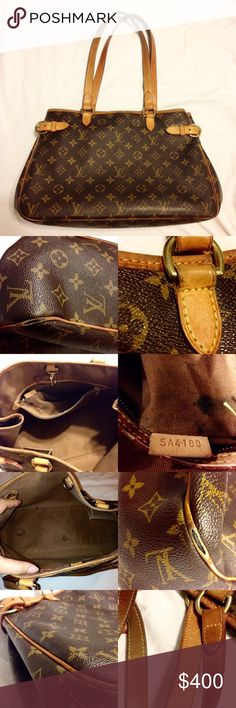 """LOWEST PRICE 👍🏻 LV Batignolles Horizontal REPOSH: PLEASE READ AND EXAMINE PHOTOS CAREFULLY SO YOU KNOW WHAT TO EXPECT! Pre loved but still has life left. Barely noticeable when worn but the piping on the corners are exposed. Stained inside. Leather securing the left side of the front handle is loose. Date code is """"SA4180"""". Measurements: 15L x 5W x 10H, drop is 10"""". It's a beautiful discontinued bag! Reposhing cause not all flaws were disclosed and I would like most of my money back. 100%…"""