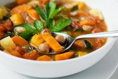 """A wonderful healthy fall vegetable soup, made with all the best Fall vegetables or whatever you happen to have handy. This soup is a great """"fridge cleaner"""". Easy Vegetable Recipes, Vegetable Soup Healthy, Veggie Soup, Vegetable Soup Seasoning, Fall Soup Recipes, Cooking Recipes, Healthy Recipes, Cooking Ideas, Creamed Mushrooms"""