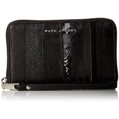 Marc Jacobs Wingman Stripes Zip Wristlet Phone Wallet ($195) ❤ liked on Polyvore featuring bags, wallets, striped bag, stripe wallet, wristlet bag, zipper bag and stripe bag
