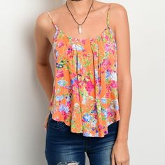 ✨NEW✨Bright Neon Floral Ruffle Tank Spaghetti strap flowy tank in orange with a bright floral print. Available in S and M. PLEASE ASK FOR A SEPARATE LISTING Tops Tank Tops