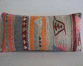 DECORATIVE PILLOW Decorative Throw Pillow Kilim Pillow Cover Turkish Cushion Lumbar pillow Case floor pillow ethnic decor pink orange grey