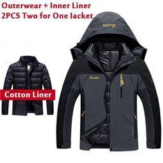 5XL 6XL Brand-Clothing Warm Winter Jacket Men/Women Two In One Down Parka Coat Thick Waterproof Snow Jacket Windbreaker CF004