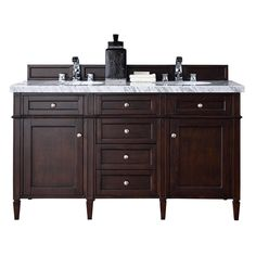 James Martin Signature Vanities Brittany 60 in. W Double Vanity in Burnished Mahogany with Marble Vanity Top in Carrara White with White Basin