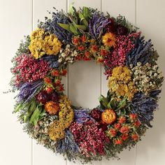 Farmers' Market Herb Wreath - Traditional - Wreaths And Garlands . Dried Flower Wreaths, Wreaths And Garlands, Fall Wreaths, Dried Flowers, Christmas Wreaths, Corona Floral, Deco Floral, Summer Wreath, How To Make Wreaths