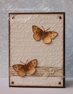 You can see my take on this design on my blog. http://scrappincatscreativeendeavors.blogspot.com/2012/01/butterfly-embossed-card.html