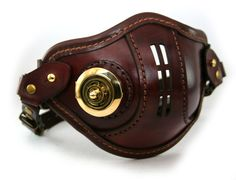 STEAMPUNK LEATHER Mask brown leather polished brass VNT Raider design. $145.00, via Etsy.
