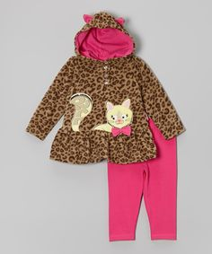 Look at this Tan & Pink Leopard Cat Tunic & Pants - Infant on #zulily today!
