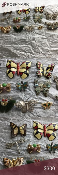 Vintage Butterfly Brooch Collection Estate finds. I don't know much about vintage jewelry but picked these up here and there because they are either stamped, Sterling Silver or have amazing Gemstones. My lack of knowledge is your gain for sure Authentic Original Vintage Style Jewelry Brooches