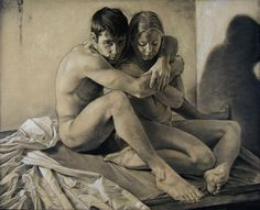 """Amanda and Jason"" by Michael Reedy, seated discreet nude male embracing female…"
