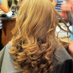 Ashley prom hair in progress. 1 1/2 hour to just curl!  Thanks Sarah at Mirage!