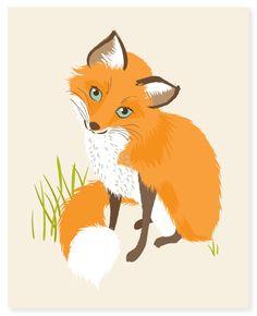 fox vixen  woodland art print 8x10 by SeaUrchinStudio