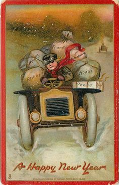Happy New Years antique postcard, Boy driving truck with gifts, Tuck and Sons vintage postcard has been mailed has writing on back canceled stamp postmark 1910 missing corner wear around edges Vintage Happy New Year, Happy New Year Photo, Happy New Year 2019, New Year Wishes, New Year Card, Chrismas Cards, Vintage Christmas Cards, Thanksgiving Greetings, New Year Greetings