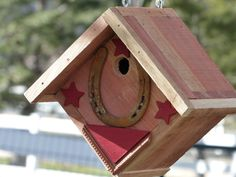 Birdhouse Handcrafted Rustic Cedar Hanging Western Themed by 3FeatheredFriends on Etsy