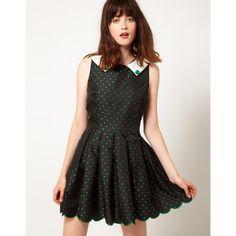Nishe Heart Jacquard Collar Dress ($54) ❤ liked on Polyvore