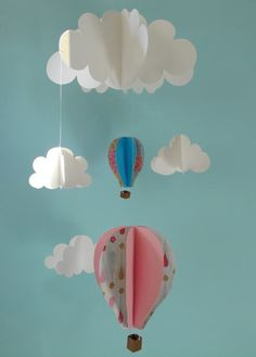 Hot Air Balloons and Clouds Hanging Baby Mobile/3D Paper Mobile