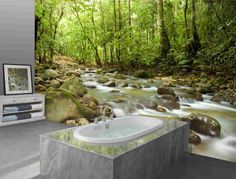wide by high. Prepasted robust walpaper mural from a photo of:Mountain Stream and Sunbeam light through a forest. Our murals are easy to install remove and reuse (Hang again) if U do as in our video. Interior Ceiling Design, Interior Decorating Styles, Decorating Ideas, Nature Tree, Nature Decor, Prepasted Wallpaper, Wall Wallpaper, Natural Wedding Decor, Back To Nature