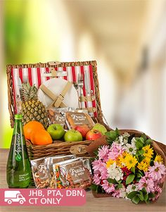 Fruit: Fruit, Nuts and Beautiful Sprays Picnic Basket!