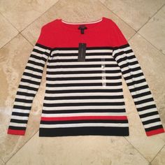 NEW! Tommy Hilfiger striped Sweater navy red white Beautiful never worn Tommy Hilfiger sweater Tommy Hilfiger Sweaters Crew & Scoop Necks