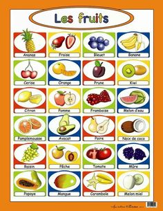 les fruits - point out bleuet is for Quebec, myrtille is for France French Language Lessons, French Language Learning, French Lessons, Learn French Fast, How To Speak French, French Teaching Resources, Teaching French, Food In French, French Alphabet