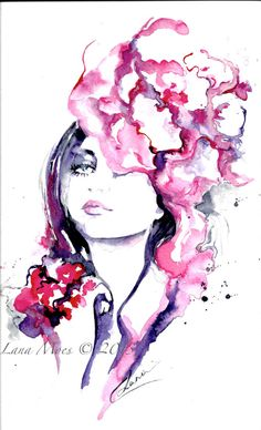 Paris Fashion Original Watercolor Illustration - Watercolor Painting Titled Flower in Her Hair