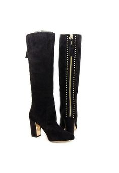 Black kitten heel boot, with back stretch calf - accommodates a wide calf.  Upper: leather and elasticLining: man-madeSole: man-madeMeasurements:Heel Height: 2 in