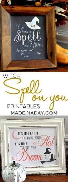 Halloween Witch Chalk Art FREE Printables,Two spooky FREE printables to scare up some fun around your home! Spell on you, witch broom, witch hat, printables on http://madeinaday.com via /thelovelymrsp/
