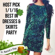 HOST PICK Green Mini Sequin Party Dress This mini green sequin 3/4 sleeve dress is perfect for any celebration but perfect for St Patrick's Day. Size small fits an XS/S (0-2) medium fits a S/M (4-6) Large fits a M/L (6-8) this is a snug mini dress to show off your sexy legs and curves. Not itchy as it has a black silk like lining. The dress is made of a black velvet like material with green sequins all over. This is high quality, price is firm. Retails for $119. Consider a size up for a more…