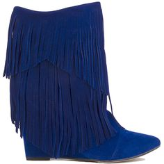 Two Layer Fringe Mid Calf Wedge Booties - Cobalt Blue Suede ($55) ❤ liked on Polyvore featuring shoes, boots, ankle booties, ankle boots, cobalt blue suede, faux suede booties, wedge booties, suede wedge booties, suede fringe booties and suede wedge boots