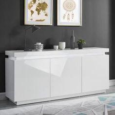 ODYSSEE Buffet LED contemporain laqué blanc brillant - L 170 cm
