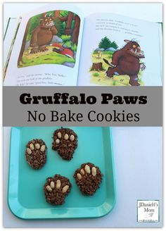 Superstars Which Are Helping Individuals Overseas No Bake Cooke Guffalo Paws - Kids Will Love Helping You Bake These Cookies Based On A Favorite Book. They Would Be Fun To Make To Snack On While Reading The Book. Gruffalo Activities, Gruffalo Party, Gruffalo Eyfs, Book Activities, Eyfs Activities, Classroom Activities, Kids Cooking Party, Preschool Cooking, Kids Cooking Activities