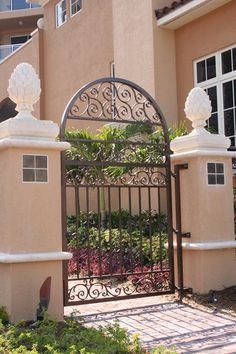 Wrought Iron Gate, Stucco Pillars Gates and Fencing Landscaping…