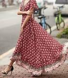 Floral V-Neckline Short Sleeve Maxi A-line Dress