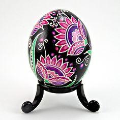 Violet Midnight Blossoms - Real Handmade Traditional Ukrainian Chicken Egg by Ukrainian Treasures, via Flickr