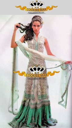 beautiful white/silver with mint green lengha