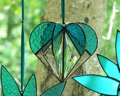 Beautiful Rose Window Suncatcher Heart by StainedGlassbyJean
