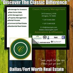 Owners If you're the owner of income real estate in the Dallas/Fort Worth metroplex, Classic Property Management can give you the knowledgeable and competent management assistance you need to maximize your investment. Since 1987, our residential property leasing and management teams have provided a complete set of professional services, including: asset evaluations and market analysis before you invest; marketing, make-readies, and tenant negotiations after you purchase; and maintenance...