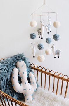 Handmade Llama Mobile & Cactus Pillow | BohoBabyHeaven on Etsy