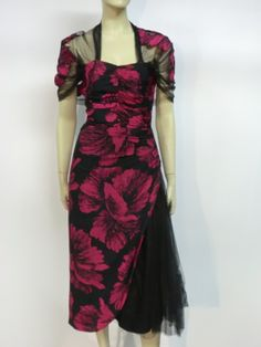 1940s Hibiscus Print Cocktail Dress w/ Tulle Swag and Capelet