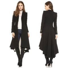 New victorian Brand Fashion Turn-down Collar Slim X-Long Trench Coat Winter Woollen Coat Women Overcoat Dovetail Plus Size available .Victorian fashion women slim maxi wool trench coat with dovetail h Coat Outfit, Coat Dress, Steampunk Coat, Gothic Steampunk, Coats For Women, Clothes For Women, Long Jackets For Women, Look Fashion, Womens Fashion