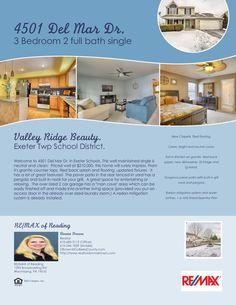 4501 Del Mar Dr. Reading, PA 19606  $210,000 3 bedroom 2 bath single in Valley Ridge.  #RealtorDonnaBrown #RemaxofReading #Remax.