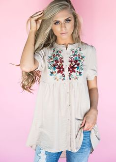Emmy Embroidered Babydoll Top, embroidered, blonde, hair, style, fashion, womens fashion, jessakae