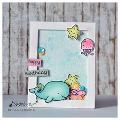 Lawn Fawn Critters In The Sea; Lawn Fawn So Jelly; Lawn Fawn Fintastic Friends; shaker; ocean scene; bright; birthday