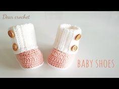 코바늘 아기신발 뜨는 방법 (crochet baby booties) 신생아~1년생 - YouTube