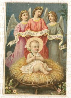 Holy Prayer Card Catholic - Baby Jesus in the Manger Surrounded by Three Angels Gloria in Excelsis Deo et in Terra Pax