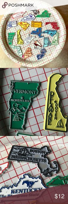 19 state magnets- Georgia, Florida, Maine, NY, etc Start or keep building your US states magnet collection Other