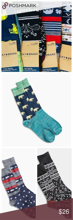 Five Pair Lucky Brand  Crew Socks Bundle NWT ☘️ Five Pair Lucky Brand Socks Bundle NWT ☘️  5 pairs Crew Socks 98/2 poly/spandex Men's size 10-13 Please select 'Bundle A' or 'Bundle B' New with tags Lucky Brand Accessories Hosiery & Socks