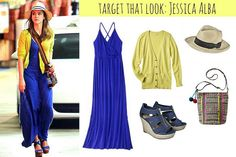 Target That Look: Jessica Alba | Style On Target | blue maxi dress, global print bag