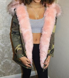 Camouflage Parka with Detachable Front Fur in Pink